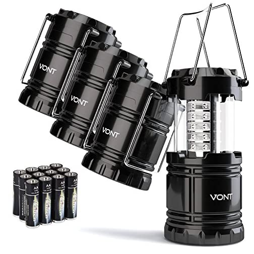 Vont 4 Pack LED Camping Lantern, LED Lantern, Suitable for Survival Kits for Hurricane, Emergency Light, Storm, Outages, Outdoor Portable Lanterns, Black, Collapsible, (Batteries Included) 3