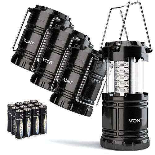 Vont 4 Pack LED Camping Lantern, LED Lantern, Suitable for Survival Kits for Hurricane, Emergency Light, Storm, Outages, Outdoor Portable Lanterns,...