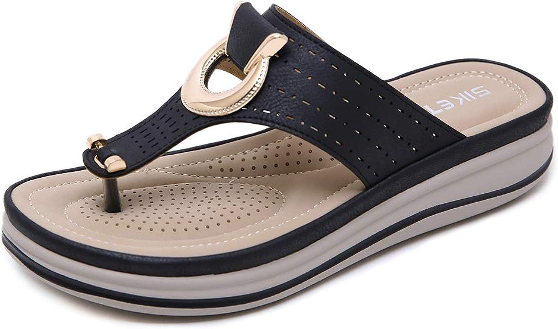 AGOWOO Womens Sandalias Platform Maternity Mules Beach Thong Sandals