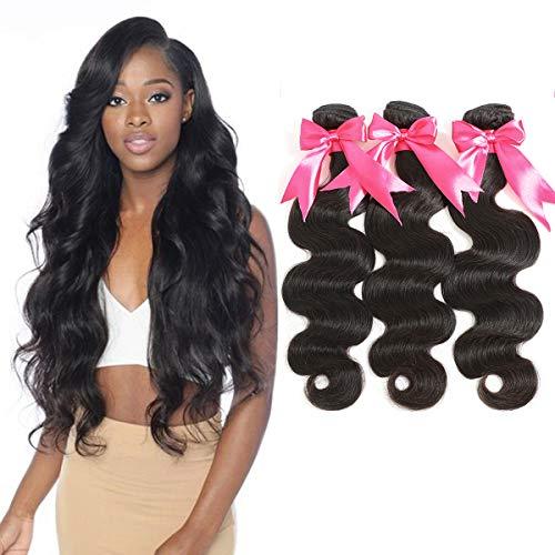 TIANTAI Brazilian Body Wave Virgin Hair 3 Bundles 100% Unprocessed Virgin Human Hair Weave Bundles Natural Color, 10 12 14 Inch