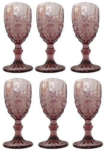 Vintage 6 Piezas Set Roma Copa de Vino Cristal Gafas Copas de Vino Copa de Helado Vaso de Agua Vaso de Trago Largo Jarra - Lila, Morado