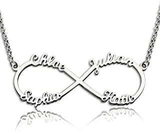 Eternal Infinity Sterling Silver Personalized Name Necklace Custom Made Any Name Pendant Necklace