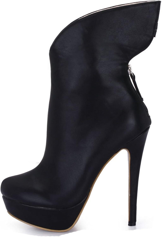 CHMILE CHAU Women Sexy Fashion Mid-Calf Boots Round Toe Platform Stiletto High Heeled Half Boots