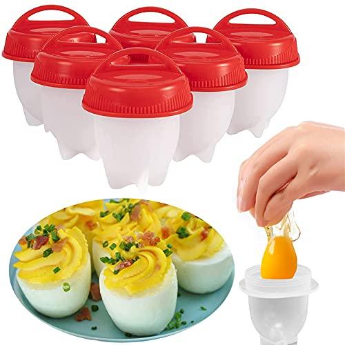 Silicona Cocedor Huevos,6 Piezas Escalfador De Huevos,Sin BPA Molde Para Escalfar Huevos,Antiadherente Recipiente Escalfador Egg Poachers Maker Para Cacerola o Vaporizador Utensilios De Cocina