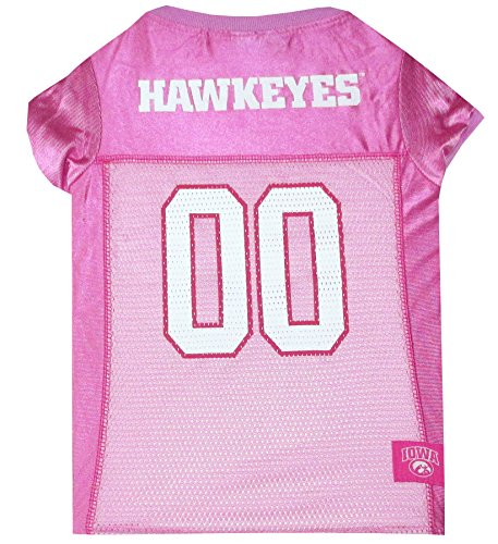 Pets First Collegiate University of Iowa Hawkeyes Dog Jersey, Small, Pink
