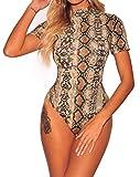 SEBOWEL - Body de Leopardo Sexy para Mujer, de Manga Corta, con Cuello de Tortuga, Leotardo, Mono, Blusa Ajustada, Camiseta, Ropa de Club (M, Marrón)