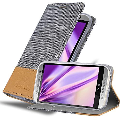 Cadorabo Funda Libro para HTC One M8 en Gris Claro MARRÓN - Cubierta Proteccíon con Cierre Magnético, Tarjetero y Función de Suporte - Etui Case Cover Carcasa