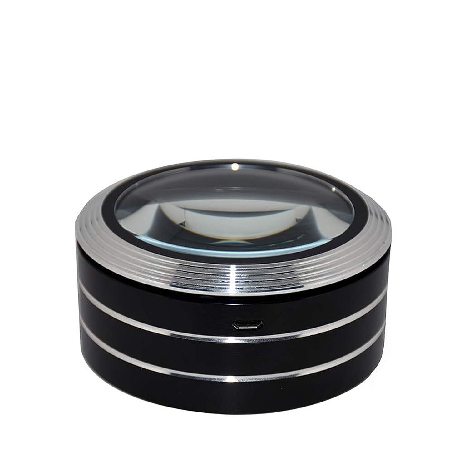 倒錯保証金署名拡大鏡HD充電拡大鏡LEDライト拡大鏡光学レンズ拡大鏡ミニハンドヘルド拡大鏡