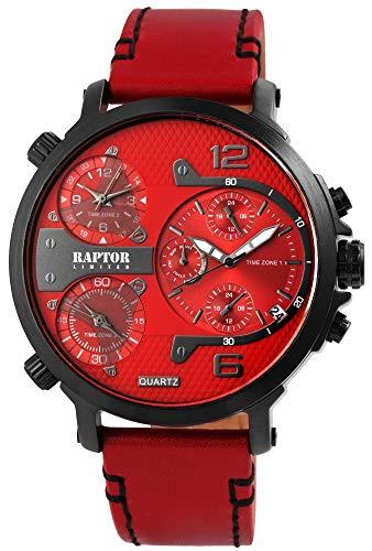 Raptor Limited Maxx Herren-Uhr Analog Quarz 3 Zeitzonen Echtleder RA20130
