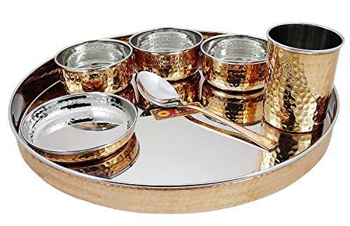 ABN Fashion - Juego de vajilla india de acero inoxidable de cobre (13 pulgadas)