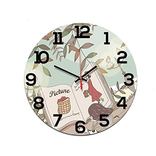 LUOYLYM Einfache Moderne Dekorative Wanduhr DIY Uhr Wanduhr Acryl Spiegel Wohnzimmer Dekoration Uhr Stumm Bewegung Reading Girl 28CM