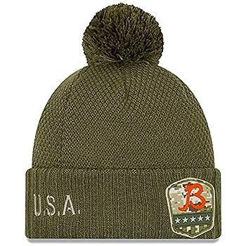 New Era Women s Olive Chicago Bears B 2019 Salute to Service Sideline Cuffed Pom Knit Hat