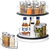 2 Tier Lazy Susan - Height Adjustable Plastic Spinning Cabinet Organizer Clear Round Turntable Large Spice Rack with Removable Storage Bins for Pantry Kitchen Fridge Vanity Bathroom Countertop Makeup