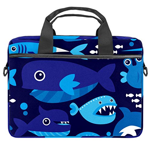 Laptop Bag Marine Blue Underwater Dolphin Pattern Notebook Sleeve with Handle 13.4-14.5 inches Carrying Shoulder Bag Briefcase