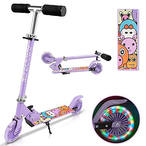 Yuanj Patinete infantil de aluminio con 2 ruedas parpadeantes, 3 altura ajustable,...