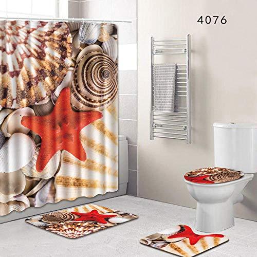 Vlejoy Seashell Starfish Cortina De Ducha Alfombra Conjunto De Combinación Inodoro Inodoro Conjunto De Almohadilla En Forma De U 4 Piezas