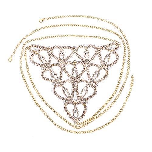 Exceart – Calcinha de strass, corrente corporal, tanga de cristal, cordão dental, corrente de cintura, tanga para mulheres e meninas (dourada)