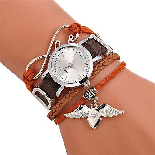 SANDA Relojes Mujer,Reloj de Pulsera de Cuero Trenzado Reloj de Cuarzo sinuoso Reloj Colgante de Bricolaje para Mujer-marrón