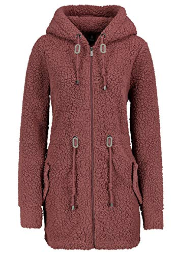 Sublevel Warmer Damen Teddy Fleece Mantel Jacke mit Kapuze Dark-Rose M