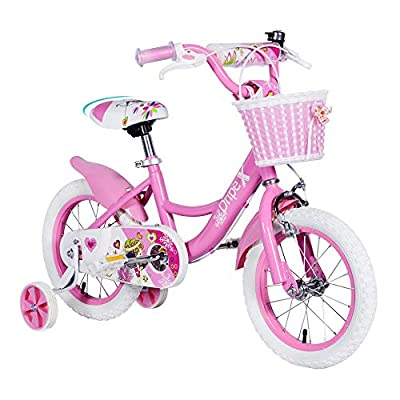 Little Girls Bike, Dripex 18 Inch Kids Bike for Girls 5-9 with Training Wheels and Kickstand Pink Freestyle BMX Bike for Kids Child's Cycle