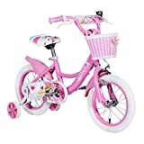 Little Girls Bike, 18 Inch Kids Bike for Girls 5-9 with Training Wheels and Kickstand Pink Freestyle BMX Bike for Kids Child's Cycle