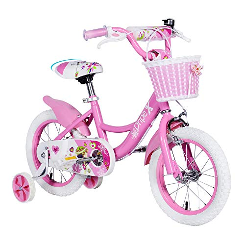 Dripex Girls Bike, Girls 14 Inch Bike for Kids 3-5 Years Old with Training Wheels and Handbrakes Pink Dirt Bike for Kids, Toddler Bicycle