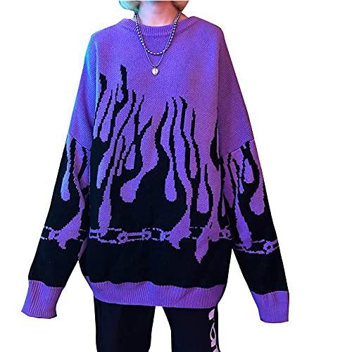 Women Sweater Long Sleeve Flame Bat Sleeve Jumper Oversized Casual Knitting Pullover Tops Purple