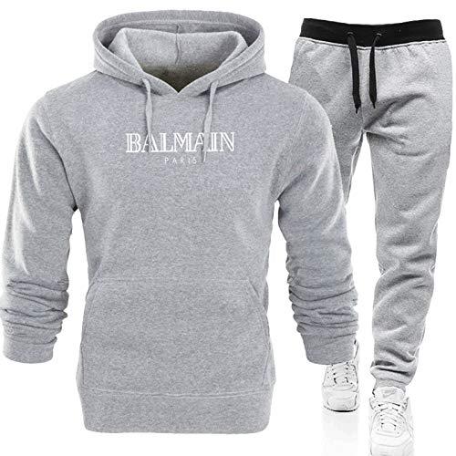 Conjunto completo de chándal para hombre, pantalones deportivos y sudadera con capucha, sudadera de manga larga + pantalones largos con (S-XXXL) gris2-XXXL