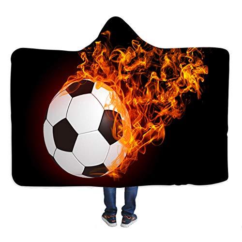 PANDAWDD Gooit Dekens Fleece Hoodie Brandende Voetbal Sport 150X200Cm Voor Sofa Snuggle Dekens Voor Volwassenen Fluweelachtig Pluche Fleece Gepersonaliseerde Super Zachte Fluffy Warm Flannel