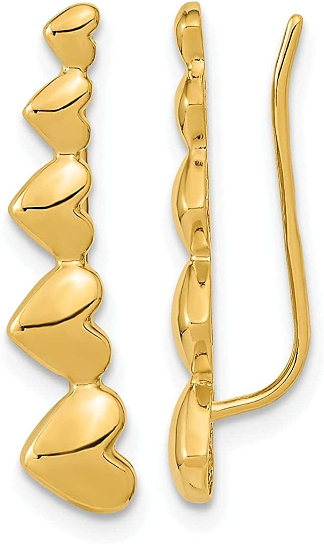 Jewelry-14k Gold specialty shop Heart Genuine Free Shipping Polished Climber Ear Earrings