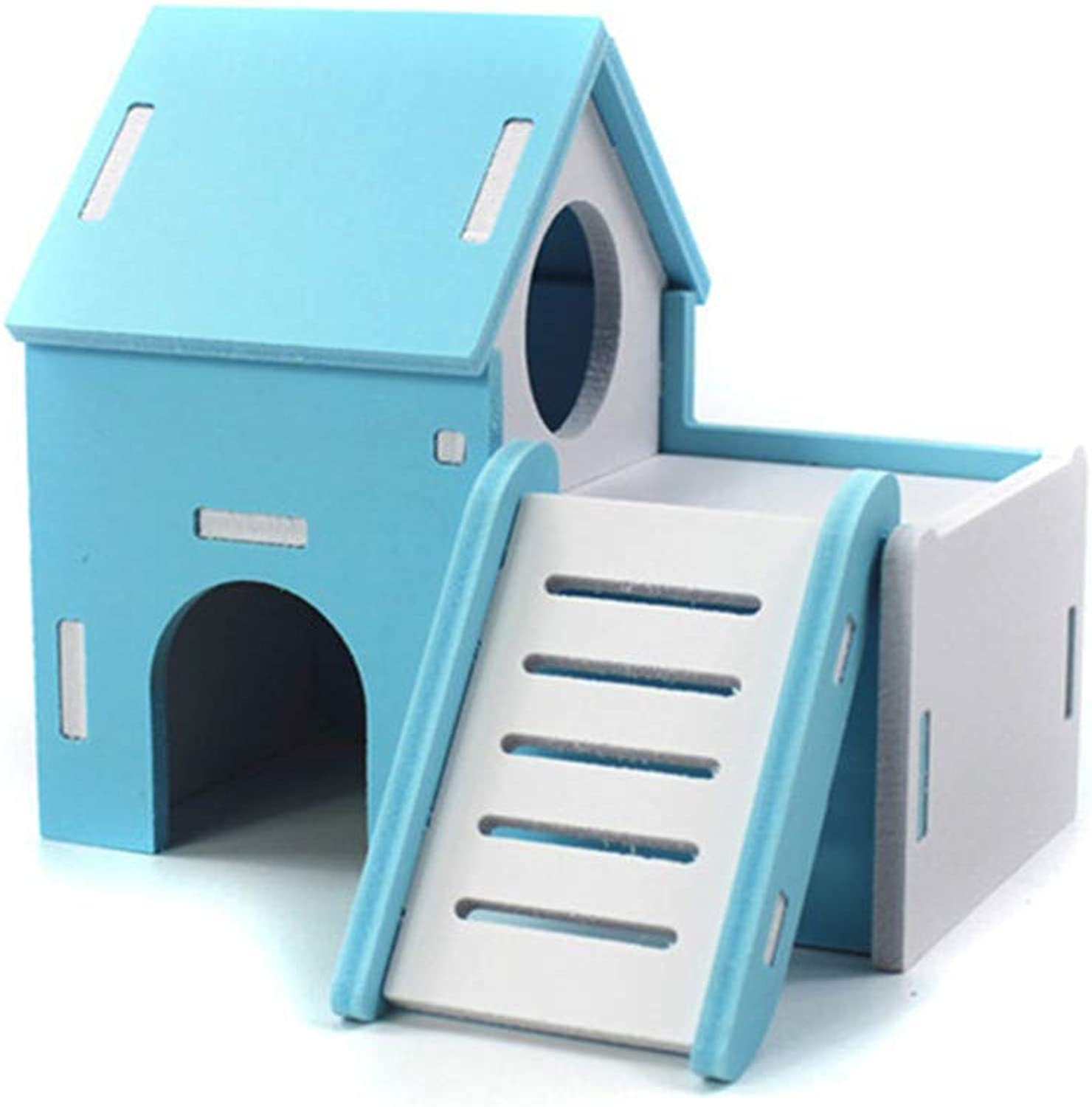 LSS Hamster House, Wooden Pet Cabin, Small Animal Hideout, Deluxe Hamsters Villa Creative Hut with Sliding Board (color   05)