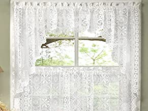 Sweet Home Collection Old World Style Floral Heavy Lace Kitchen Curtain Swag Pair, Hopewell White