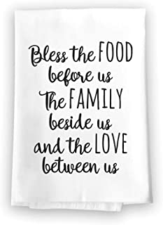 Honey Dew Gifts Home Decor, Bless The Food Flour Sack Towel, 27 inch by 27 inch, 100% Cotton, Highly Absorbent, Multi-Purpose Kitchen Dish Towel
