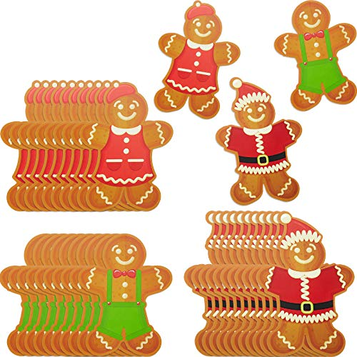 60 Pieces Mini Gingerbread Cutouts Candy Paper Cut-Outs for Sweet Candy Party School Bulletin Board Home Wall Decoration