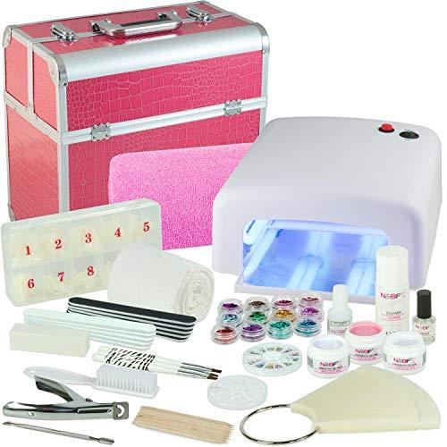 Mobiles Nagelstudio Mega Starter Set Pink Croco Nagelset für Gelnägel mit Kosmetik-Koffer - Nailart - Lampe - Armauflage - Tips Nagelset - UV Gel ideales Nagelmodellage Starterset