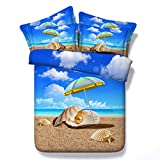 Set De Funda Nórdica Pintura al óleo 3D Ocean Shell Beach Moderno De Poliéster-Algodón Juego De Cama para Fundas De Almohada con Estampado 3D Funda De Edredón 140cm x 200cm