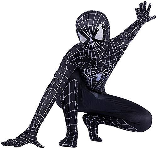 Disfraz Spiderman Niño, Spiderman Disfraz Niño, Halloween Carnaval Homecoming Superheroe Spiderman Mascara Niño Cosplay Suit Traje De Spiderman Niño, Disfraz De Spiderman Niño,Black-XS(102cm~112cm)