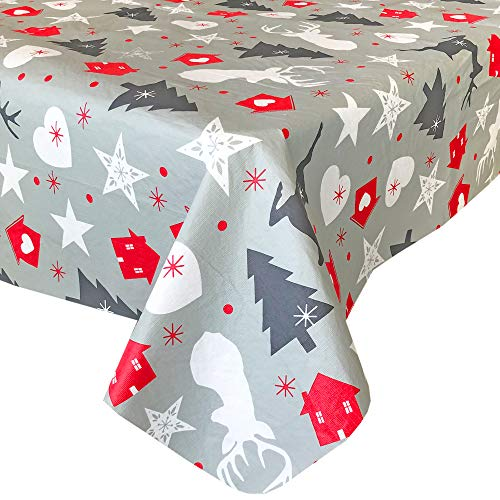 Lintex Grey Reindeer and Holiday Stars Rustic PEVA Non Toxic Christmas Vinyl Flannel Back Tablecloth - Christmas Tree Non PVC Odorless Vinyl Xmas Tablecloth, 60 Inch x 84 Inch Oblong/Rectangle