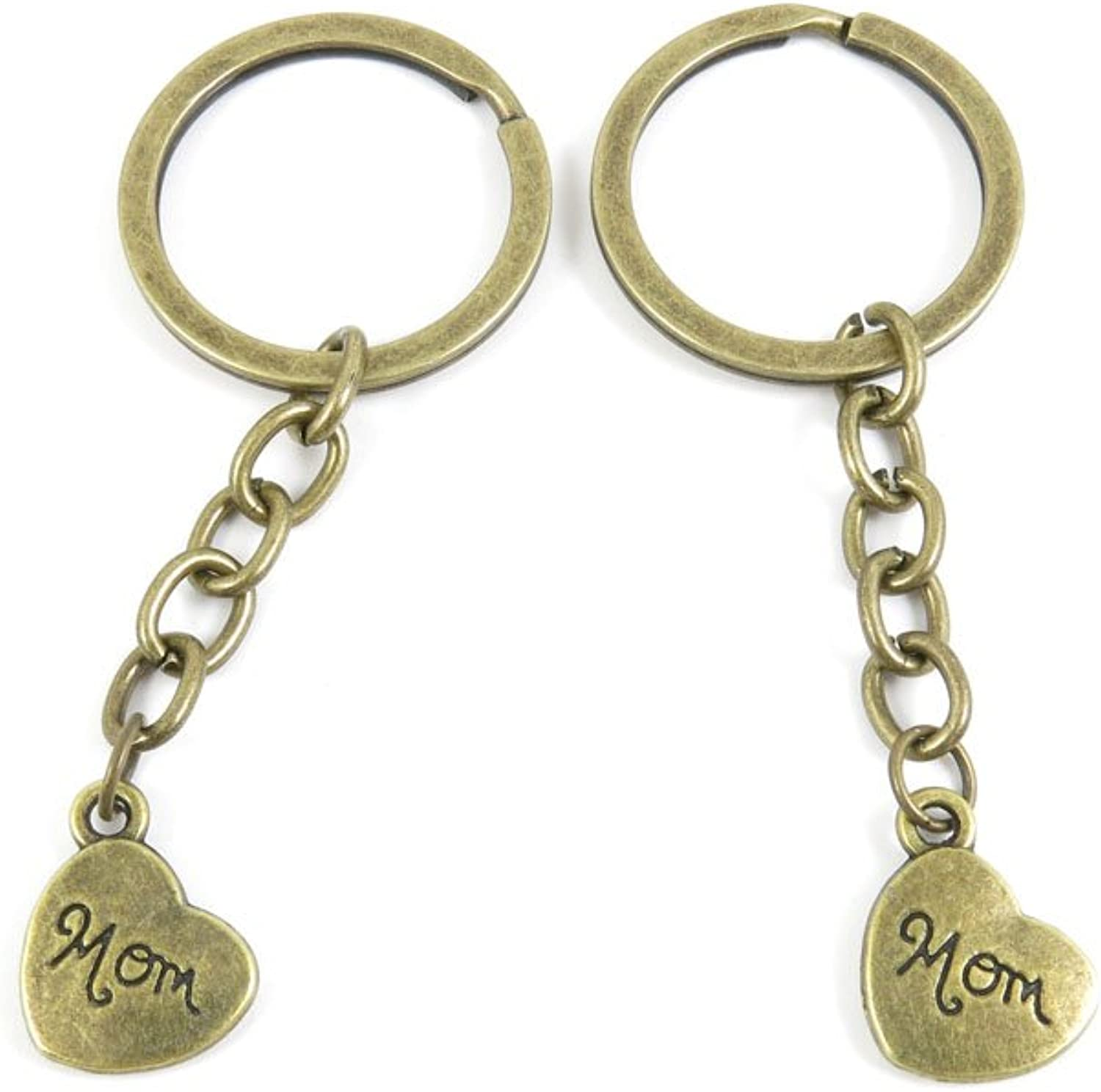 100 PCS Keyrings Keychains Key Ring Chains Tags Jewelry Findings Clasps Buckles Supplies T7YL6 Mon Heart