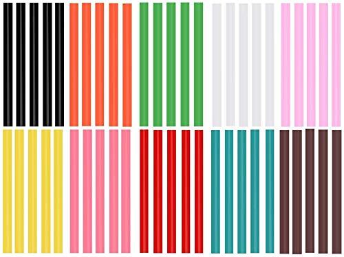 EWPARTSES 50 Barras Silicona Caliente 7mm * 100mm Pegamento termofusible Adhesivos coloreados del Arma del Pegamento Caliente del Arte del Brillo del Paquete (Colored-50pcs)