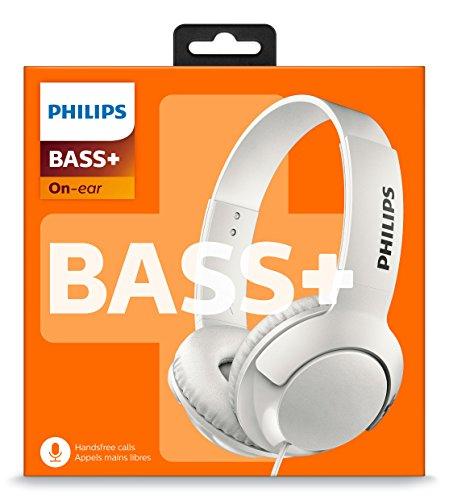 Philips Audio SHL3075WT/00 On Ear Kopfhörer (Voluminöse Bässe, Geräuschisolation, Hoher, Freisprechfunktion, Flach zusammenklappbar) weiß, Kopf Kopfhörer