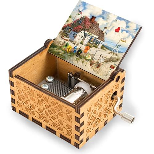 niaoyun - Root Beer Break-Caja de música de madera manivela tallada caja musical regalos para cumpleaños juguetes de mano para niños y niñas
