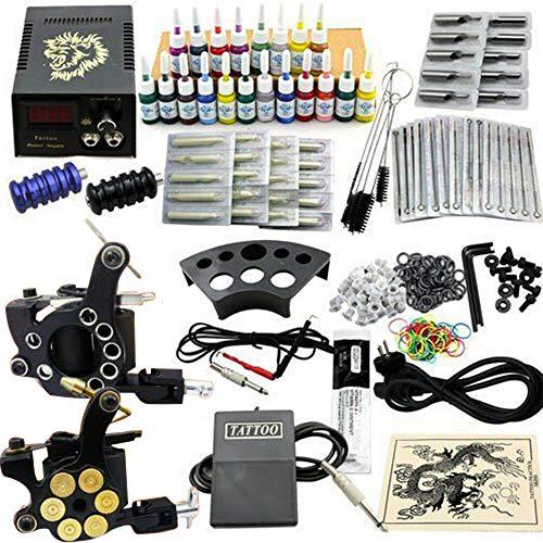 Set di macchine per tatuaggi, attrezzatura per tatuaggi per principianti, set completo di tatuaggi autodidatta, macchina per tatuaggi professionale