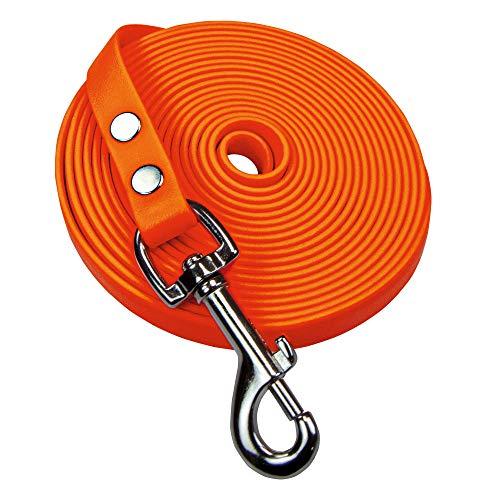 Schecker Orange Biothane® Schleppleine ohne Handschlaufe Länge: 5 m / 13 mm in 6 tollen Farben extrem widerstandsfähig, witterungsbeständig und weich