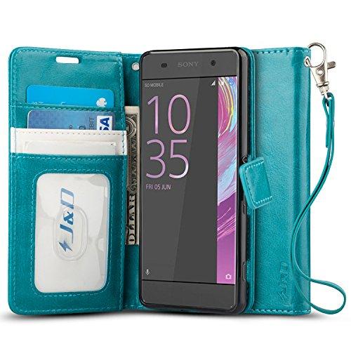 JundD Kompatibel für Xperia XA Leder Hülle, [Handytasche mit Standfuß] [Slim Fit] Robust Stoßfest PU Leder Flip Handyhülle Tasche Hülle für Sony Xperia XA Hülle - Aqua