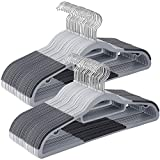 SONGMICS 50 Pack Coat Hangers, Heavy-Duty Plastic Hangers with Non-Slip Design, Space-Saving Clothes Hangers, 0.2 Inches Thick, 16.5 Inches Long, Light and Dark Gray UCRP20G50