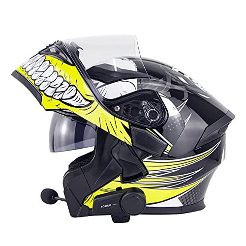 EBAYIN Casco Motocicleta Bluetooth, integrale Bluetooth Integrado Cara Completa Cascos Moto Dot ECE a Prueba Agua Cascos Modulares Bluetooth Visores Duales Intercomunicador Mp3 FM,L-M=(57~58cm)