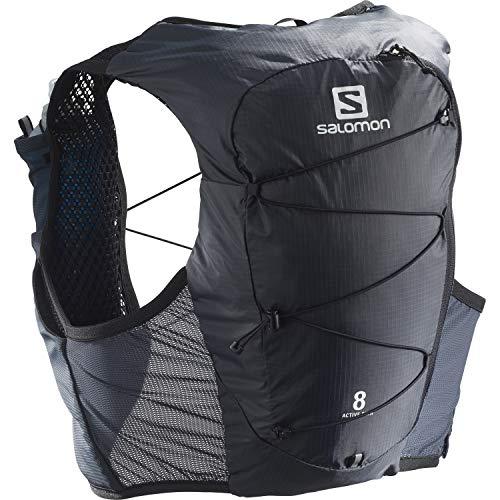 Salomon Active Skin 8 Unisex Trinkweste Mit SensiFit Und Quick Link Konstruktion Für Trailrunning, Schwarz (Ebony Black), M