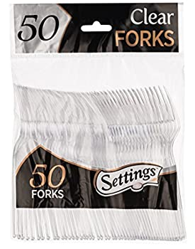 [50 Count] Settings Plastic Clear Forks Heavyweight Disposable Cutlery Great For Home Office School Party Picnics Restaurant Take-out Fast Food Outdoor Events Or Every Day Use 1 Bag