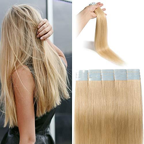 Extension Adhesive Naturel Rajout Cheveux Naturel 100% Cheveux Humain Remy Pose a Froid 20 Pièces (#613 Blond Blanchi, 12\